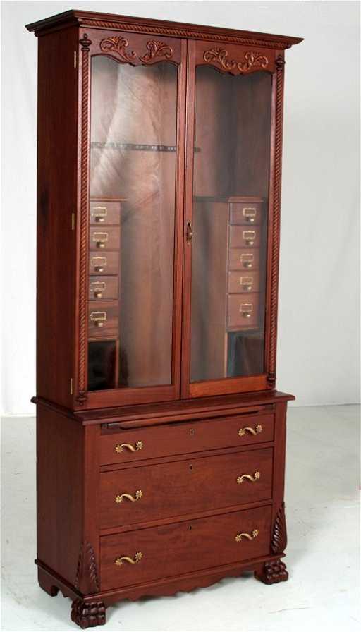 - 64: Rare Antique Mahogany Gun Cabinet With Reload Shelf