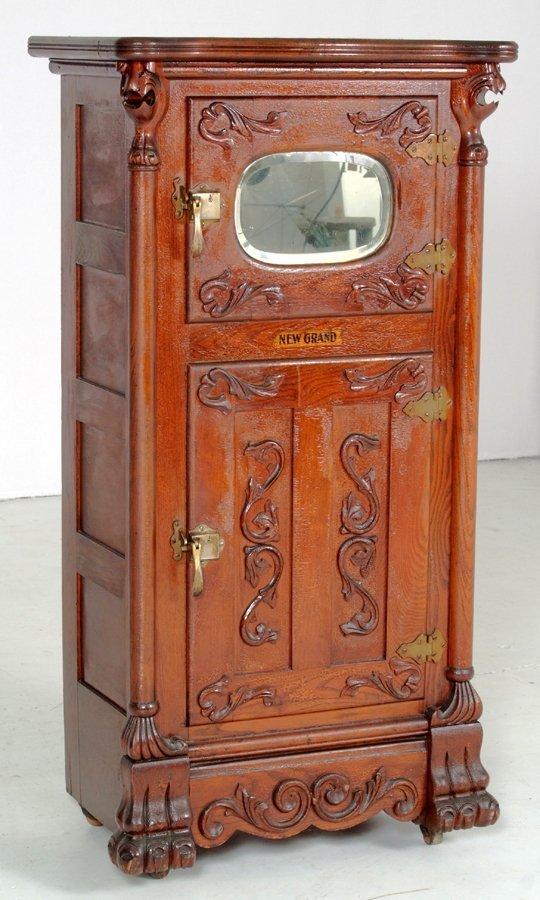 67: Rare Antique New Grand Griffin Ice Box, Great Appli