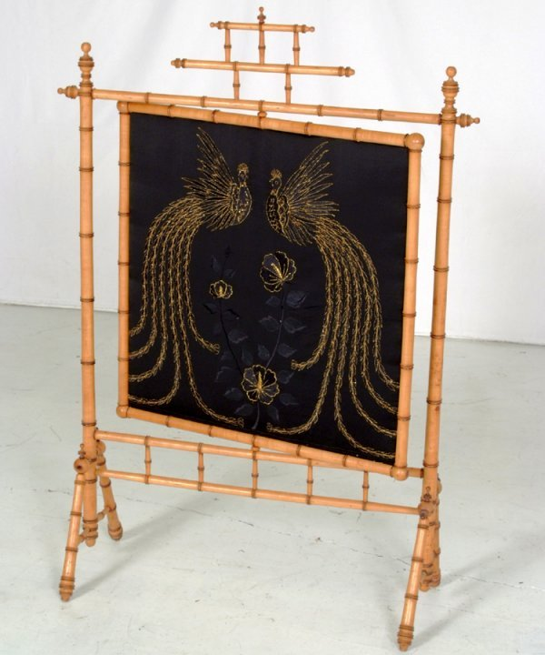 68: American Victorian Faux Bamboo Fire screen Attribut
