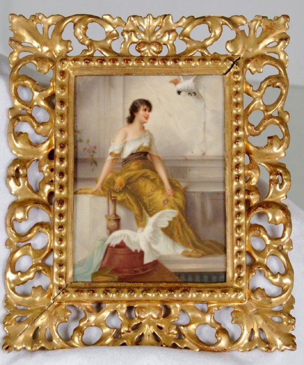 93: 19th C  Painting on Porcelain Signed Scmidt