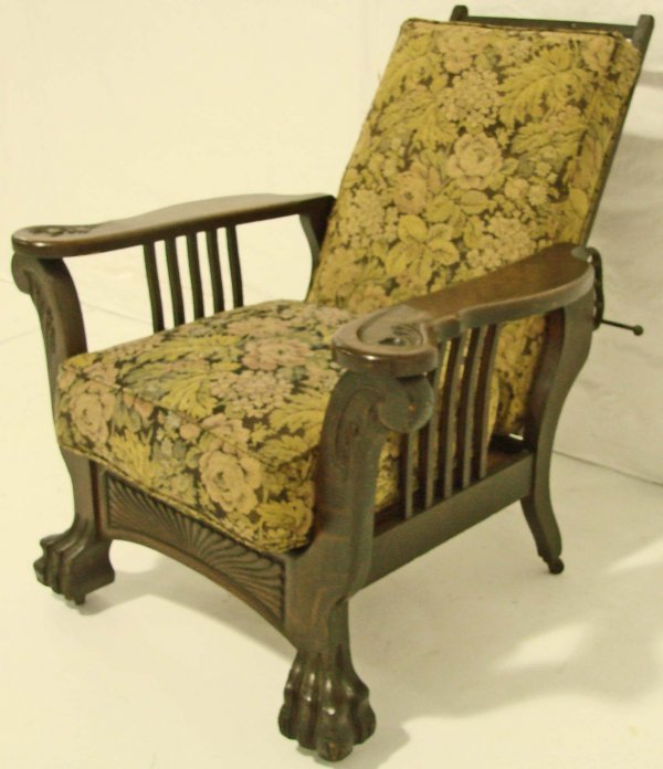 96: Antique Oversized Oak Morris Chair, Large Paw Feet,