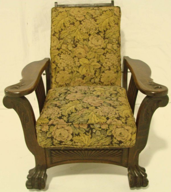 96: Antique Oversized Oak Morris Chair, Large Paw Feet, - 2