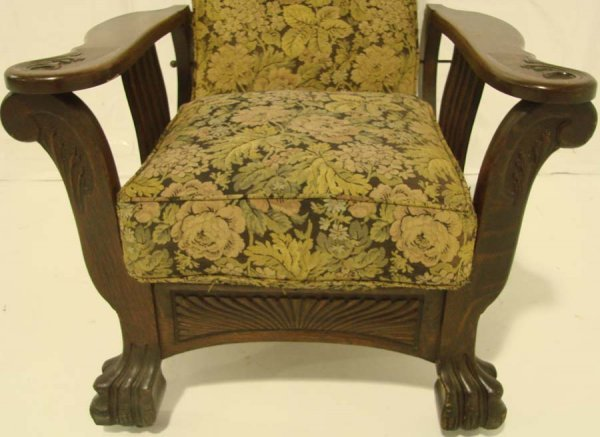 96: Antique Oversized Oak Morris Chair, Large Paw Feet, - 3