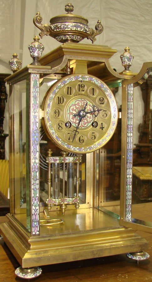 121: 19th c Bronze & Enamel Carriage Clock with Urn Cre