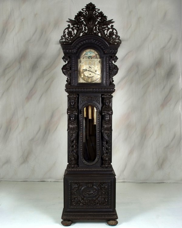 124: Best RJ Horner Nine Tube Griffin Grandfather Clock