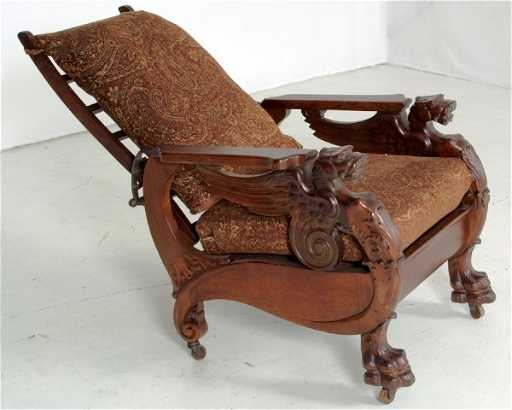 - 131: Antique RJ Horner Winged Griffin Morris Chair, Mad