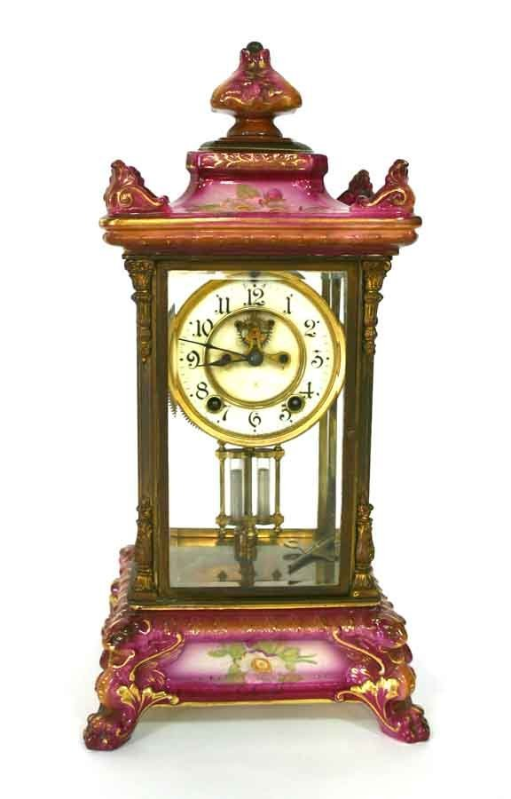 217:  19th C Royal Bonn Ansonia Crystal Regulator Clock