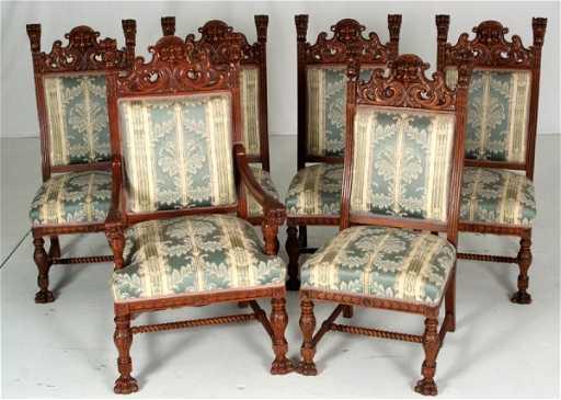 246 6 RJ Horner Lions Head Oak Dining Room Chairs