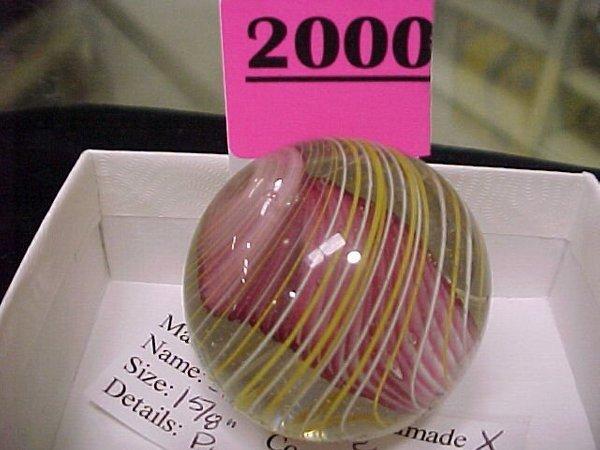 """2000: 1 5/8"""" Handmade Solid Core Pink/White"""