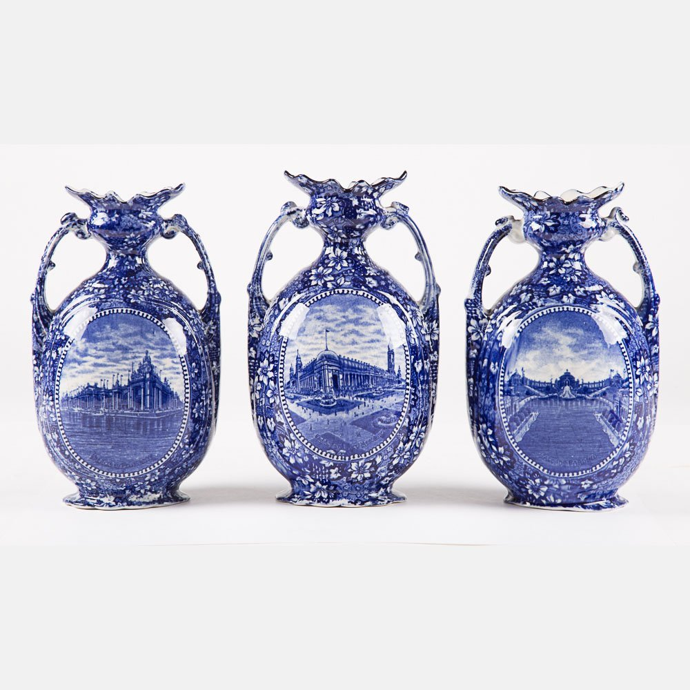 A Group of Three Rowland & Marsellus-Staffordshire Blue