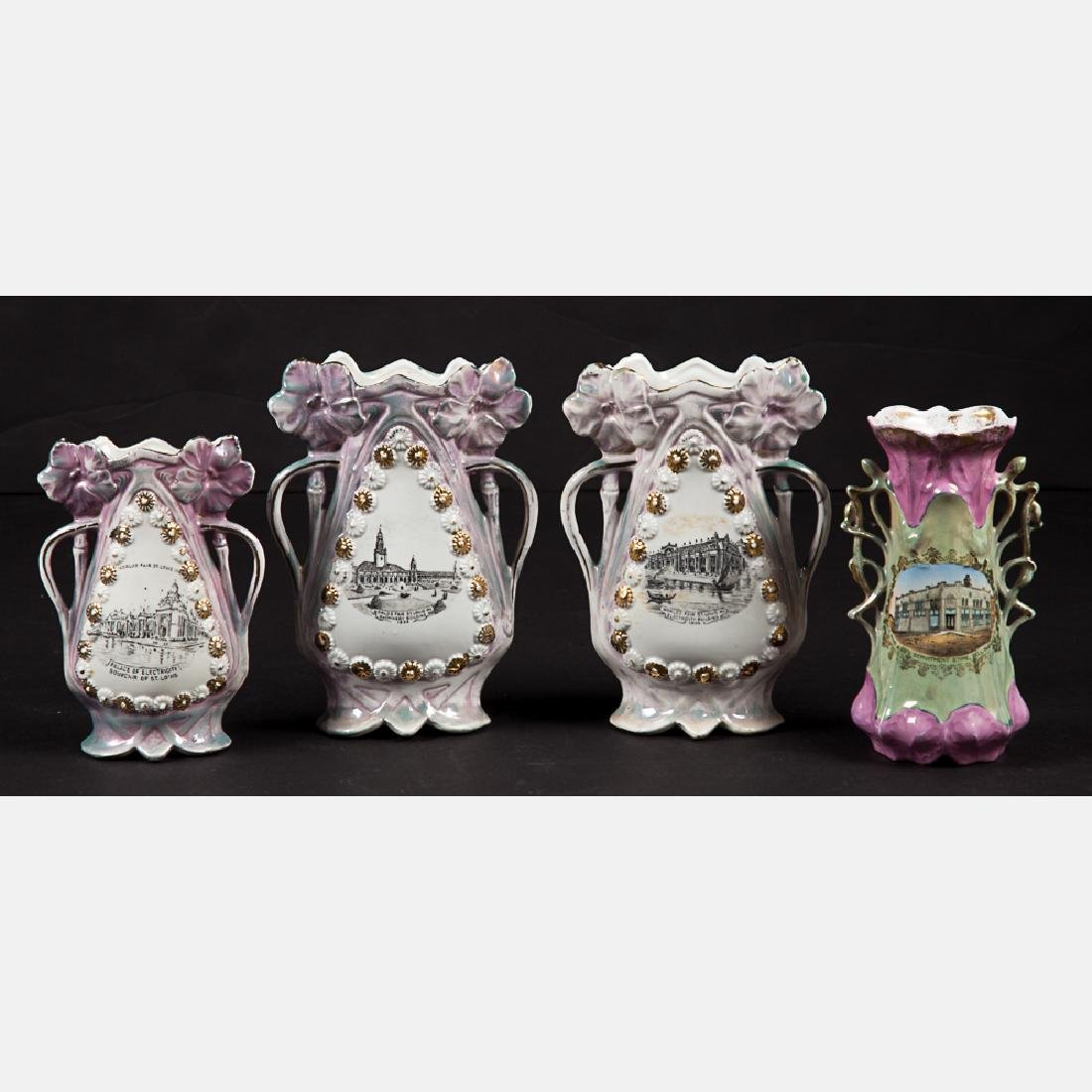 A Group of Four Porcelain Lustreware Vases by Various