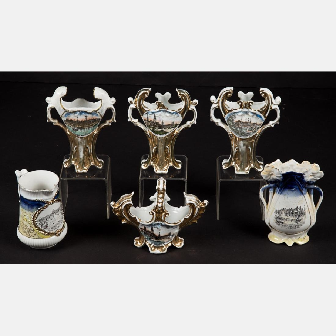 A Group of Six Porcelain Souvenirs from the Louisiana