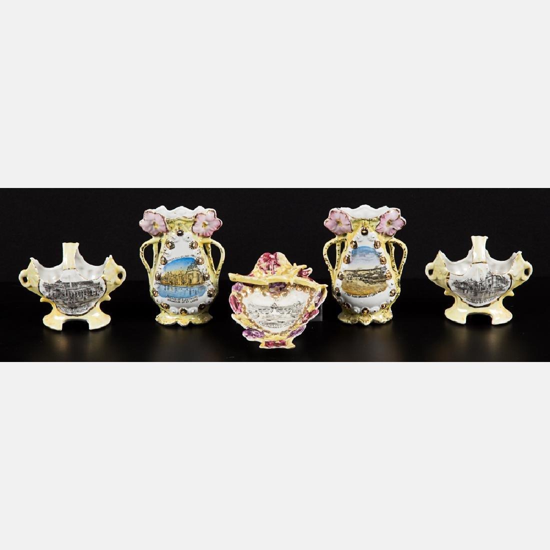 A Group of Five Porcelain Lustreware Decorative Items