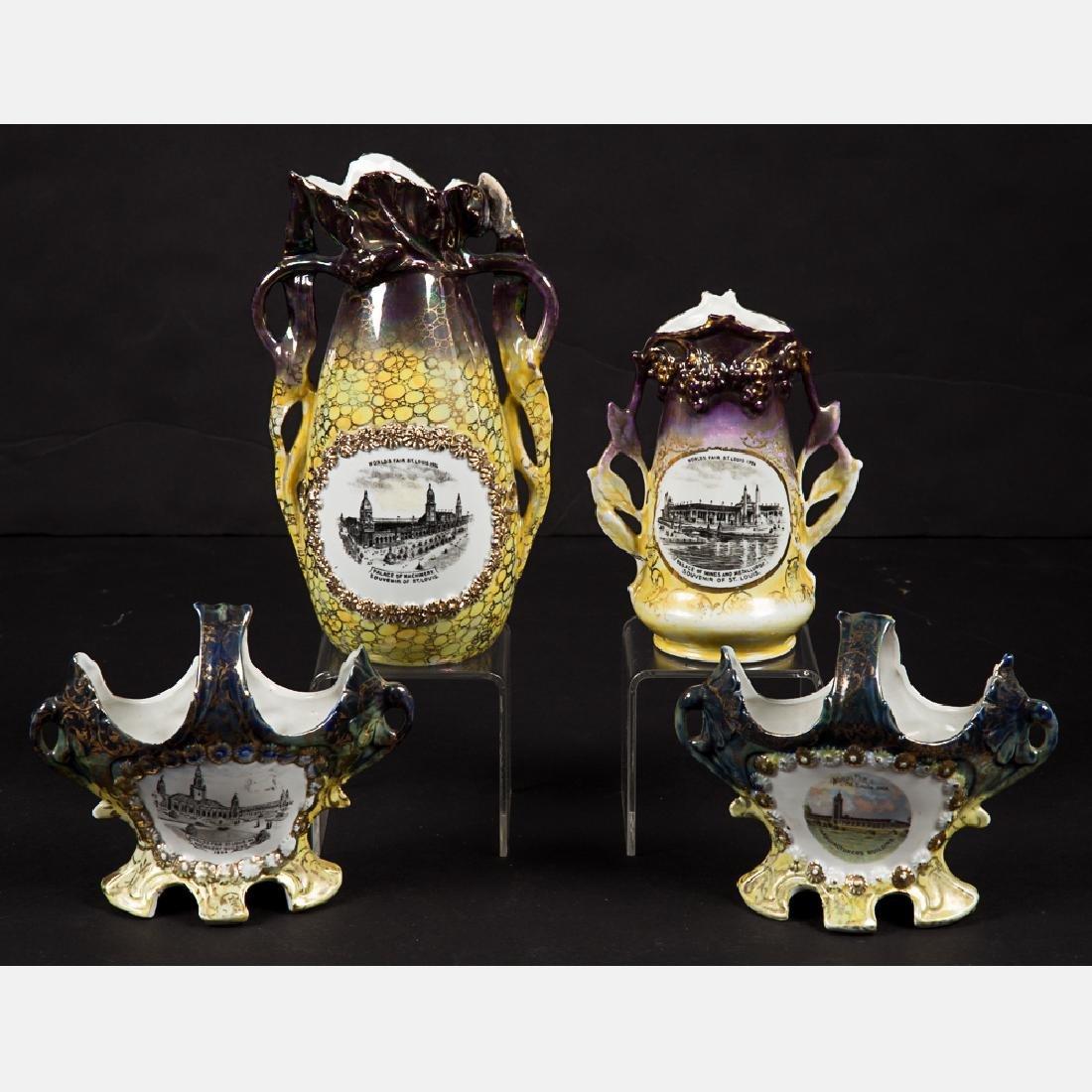 A Group of Four Porcelain Lustreware Decorative Items