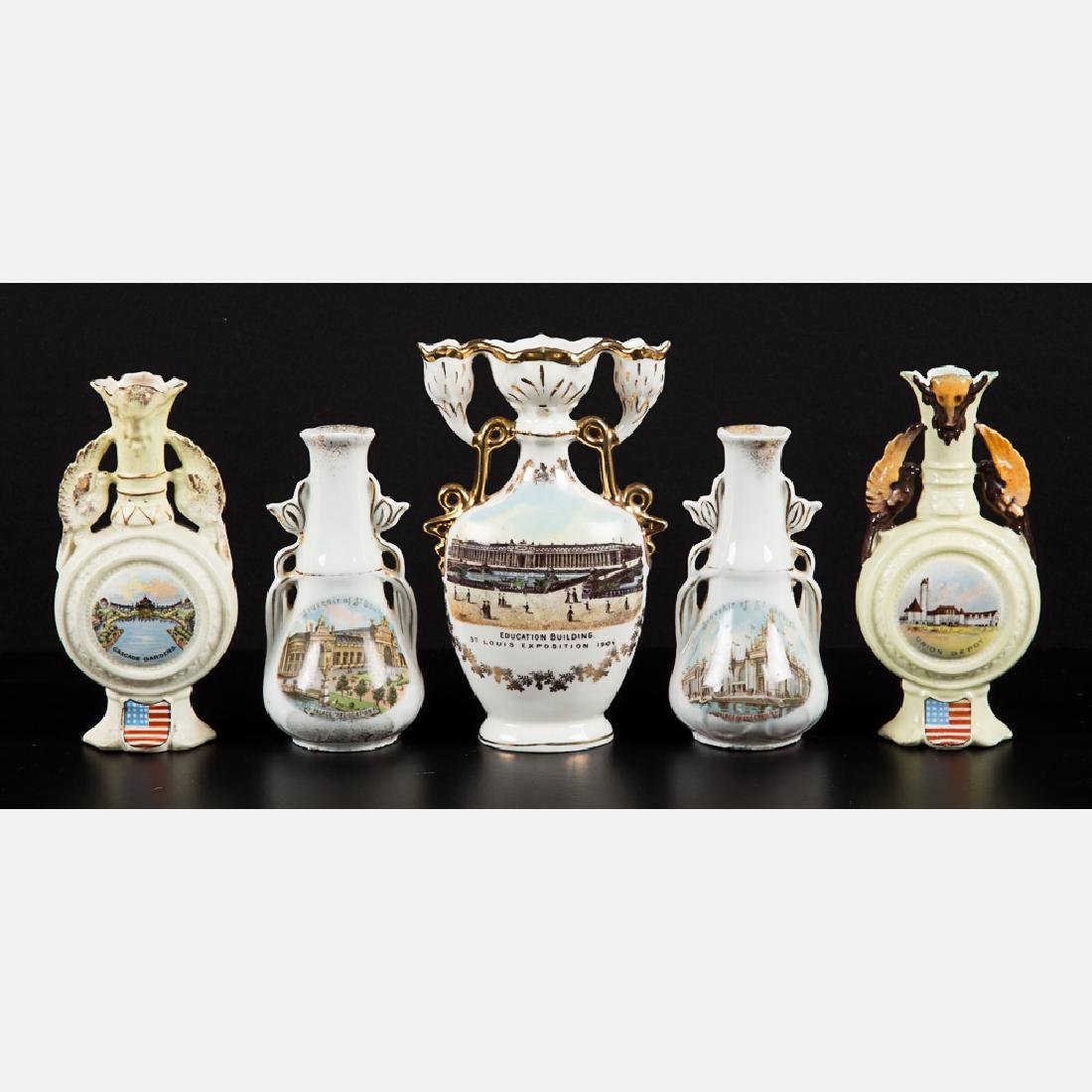 A Group of Five Diminutive Porcelain Vases by Various