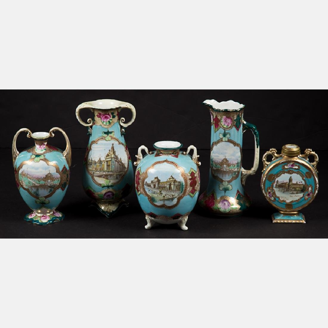 A Group of Five Porcelain Vases and Pitcher with Gilt