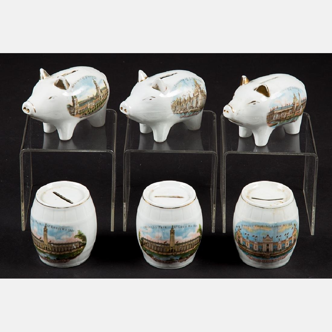 A Group of Six Porcelain Barrel and Pig Form Still