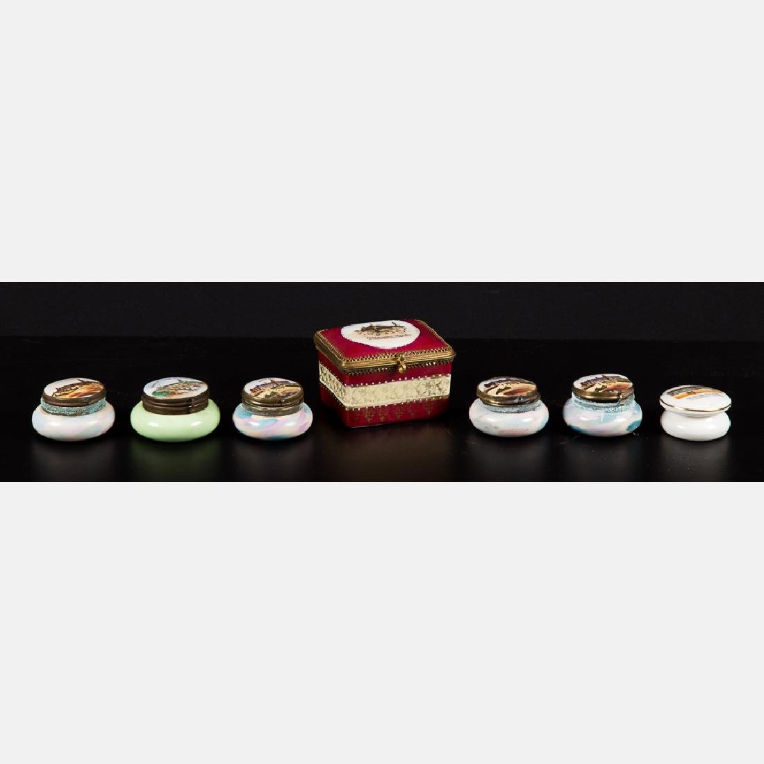 A Group of Seven Diminutive Porcelain and Brass Boxes
