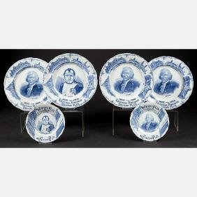 A Group of Six Victoria Art Co. Blue and White