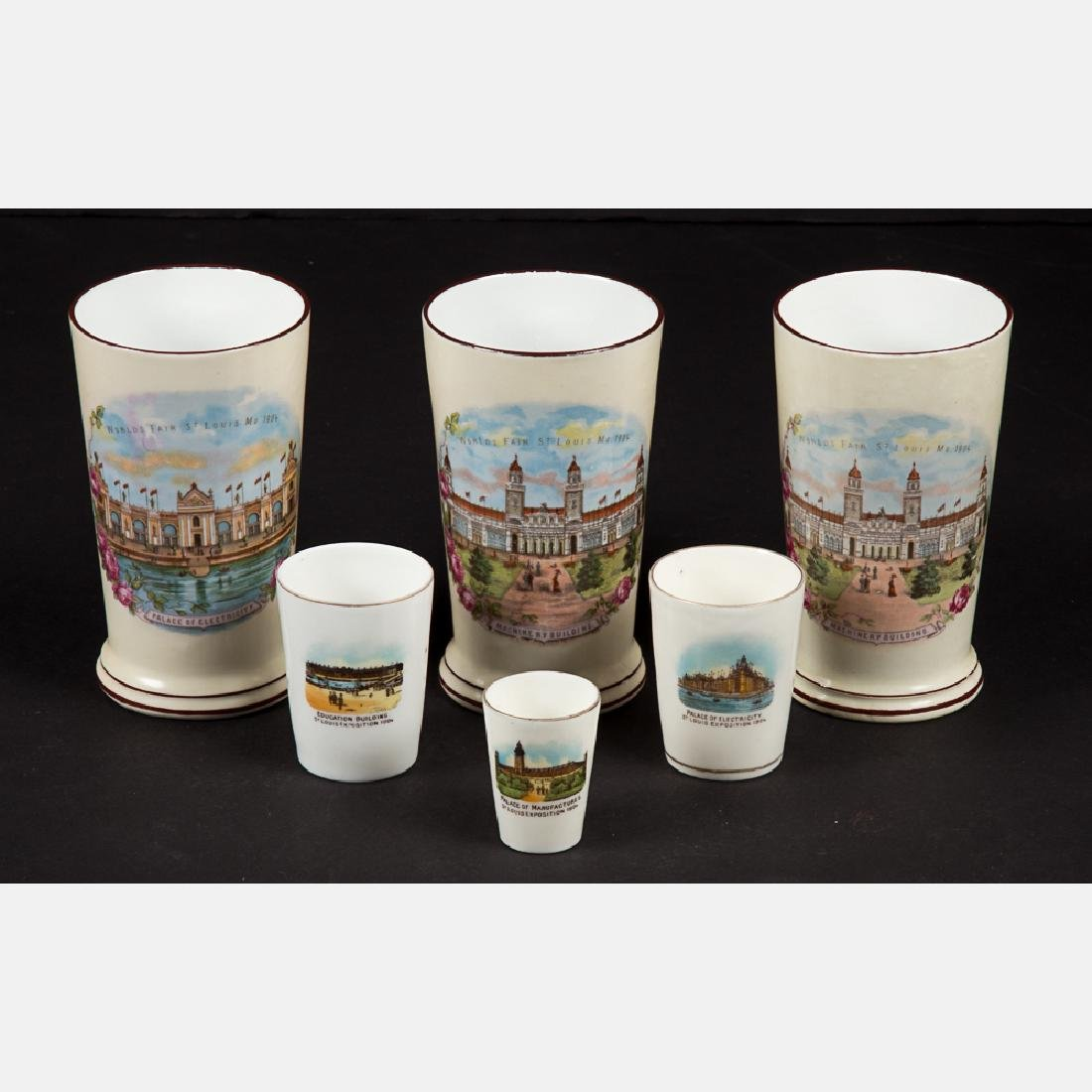 A Group of Six Porcelain Souvenir Cups by Various