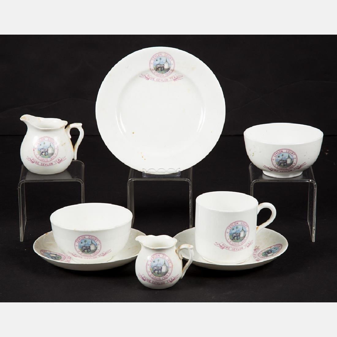 An Eight Piece Ceylon Court Porcelain Tea Set from the