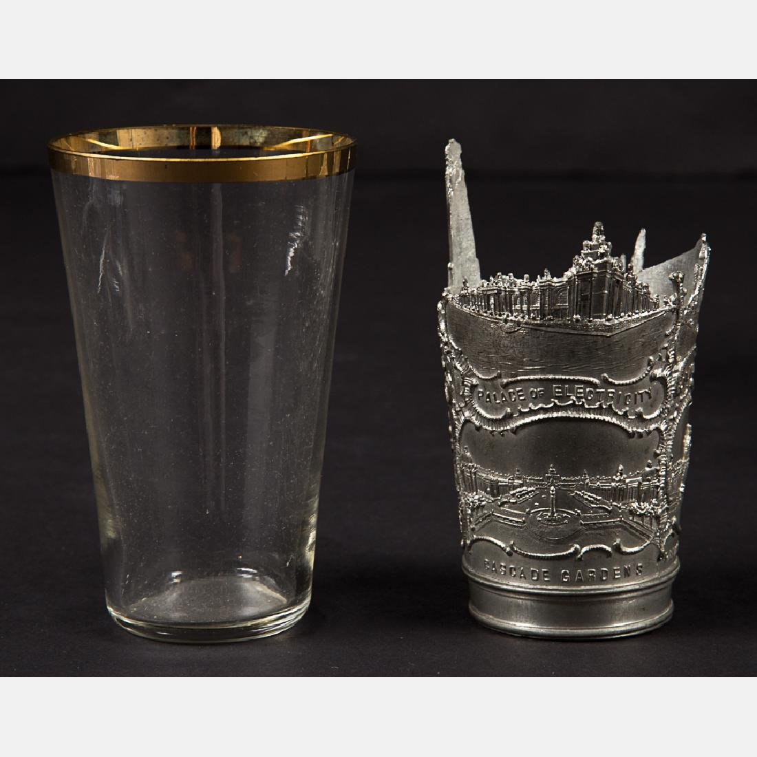 A Group of Three Glass and Metal Decorative and Serving - 3