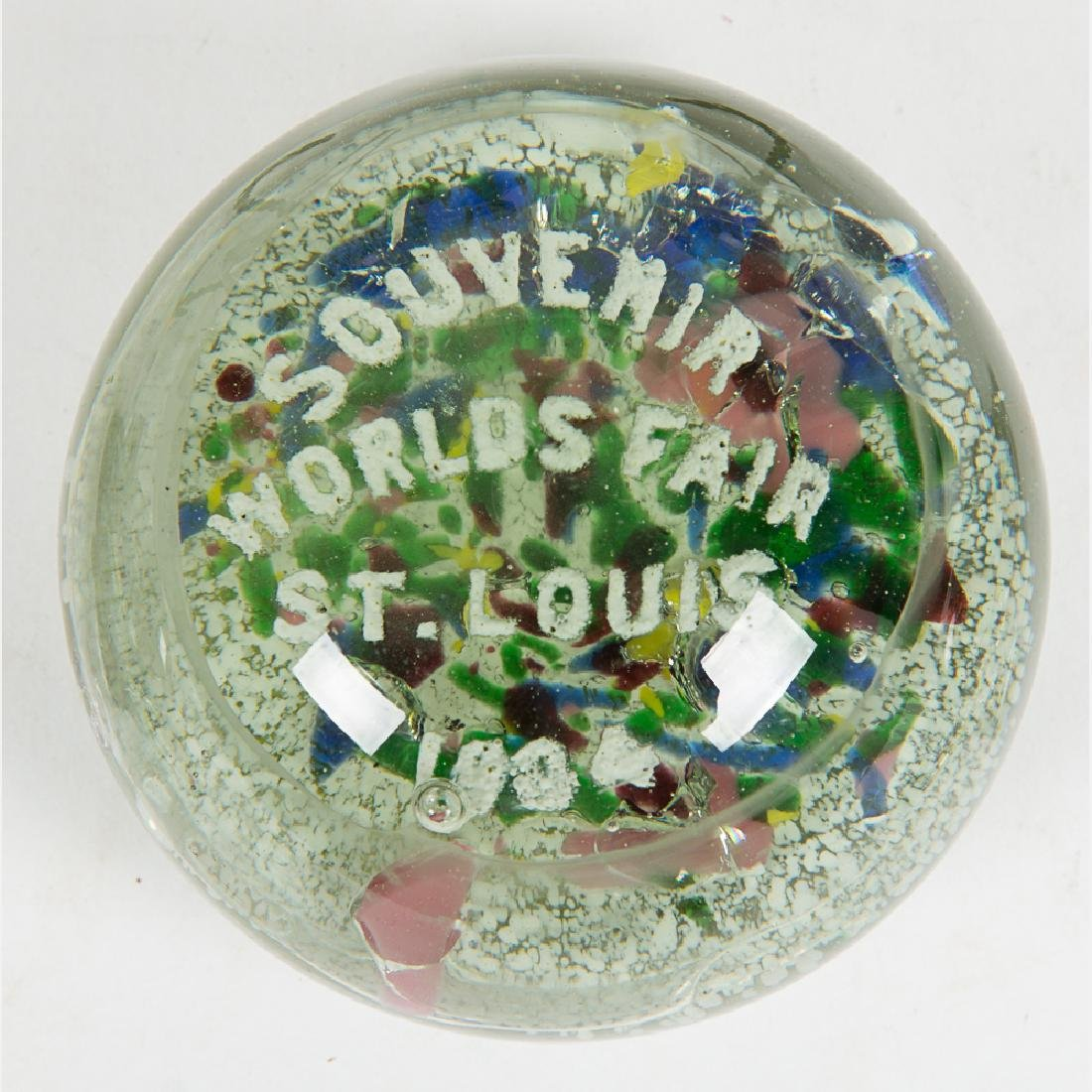 A Group of Five Glass Paperweights and Souvenirs by - 2