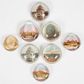 A Group of Eight Glass Circular Paperweights by Various