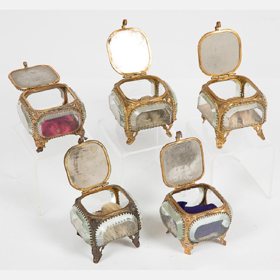 A Group of Five Glass and Brass Jewelry Boxes from the - 6