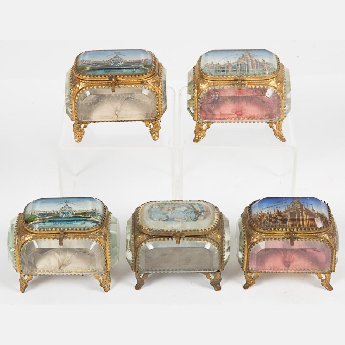 A Group of Five Glass and Brass Jewelry Boxes from the - 7