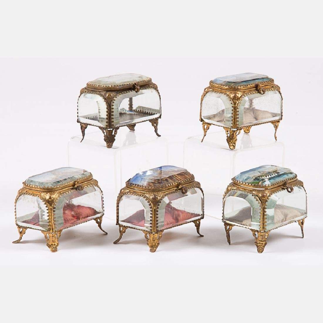 A Group of Five Glass and Brass Jewelry Boxes from the