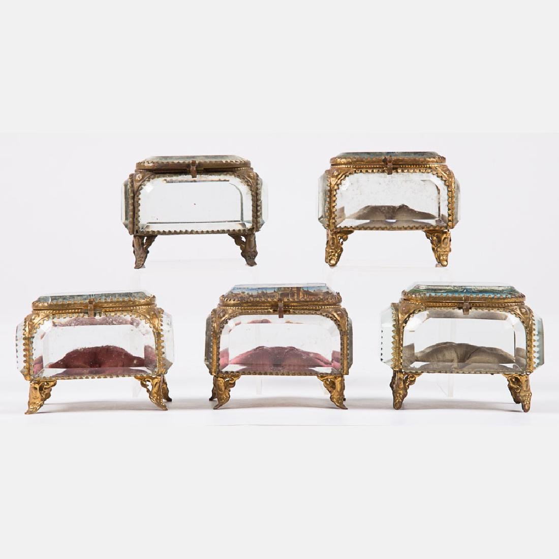 A Group of Five Glass and Brass Jewelry Boxes from the - 2