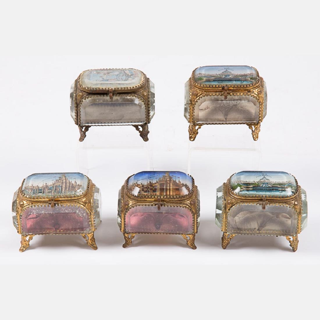 A Group of Five Glass and Brass Jewelry Boxes from the - 3