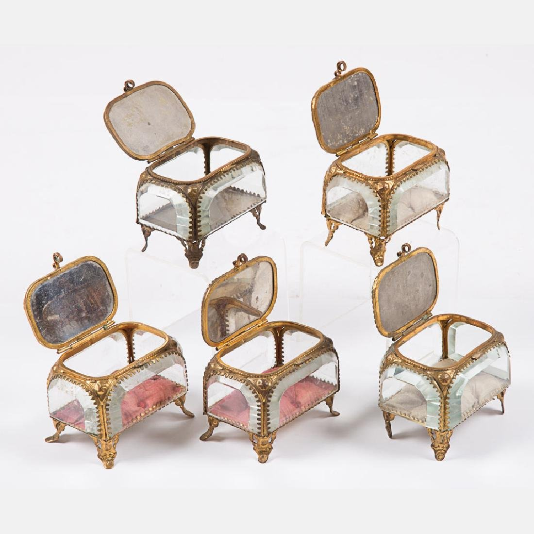 A Group of Five Glass and Brass Jewelry Boxes from the - 4