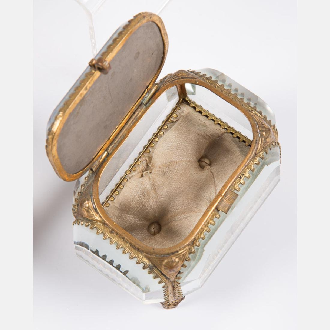 A Group of Five Glass and Brass Jewelry Boxes from the - 5