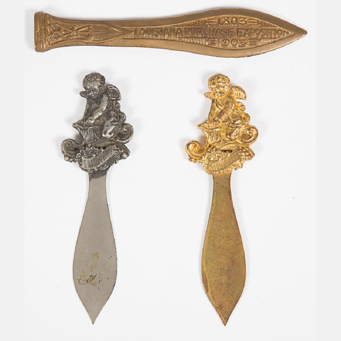 Two Gilt and Nickel Letter Openers from the Louisiana