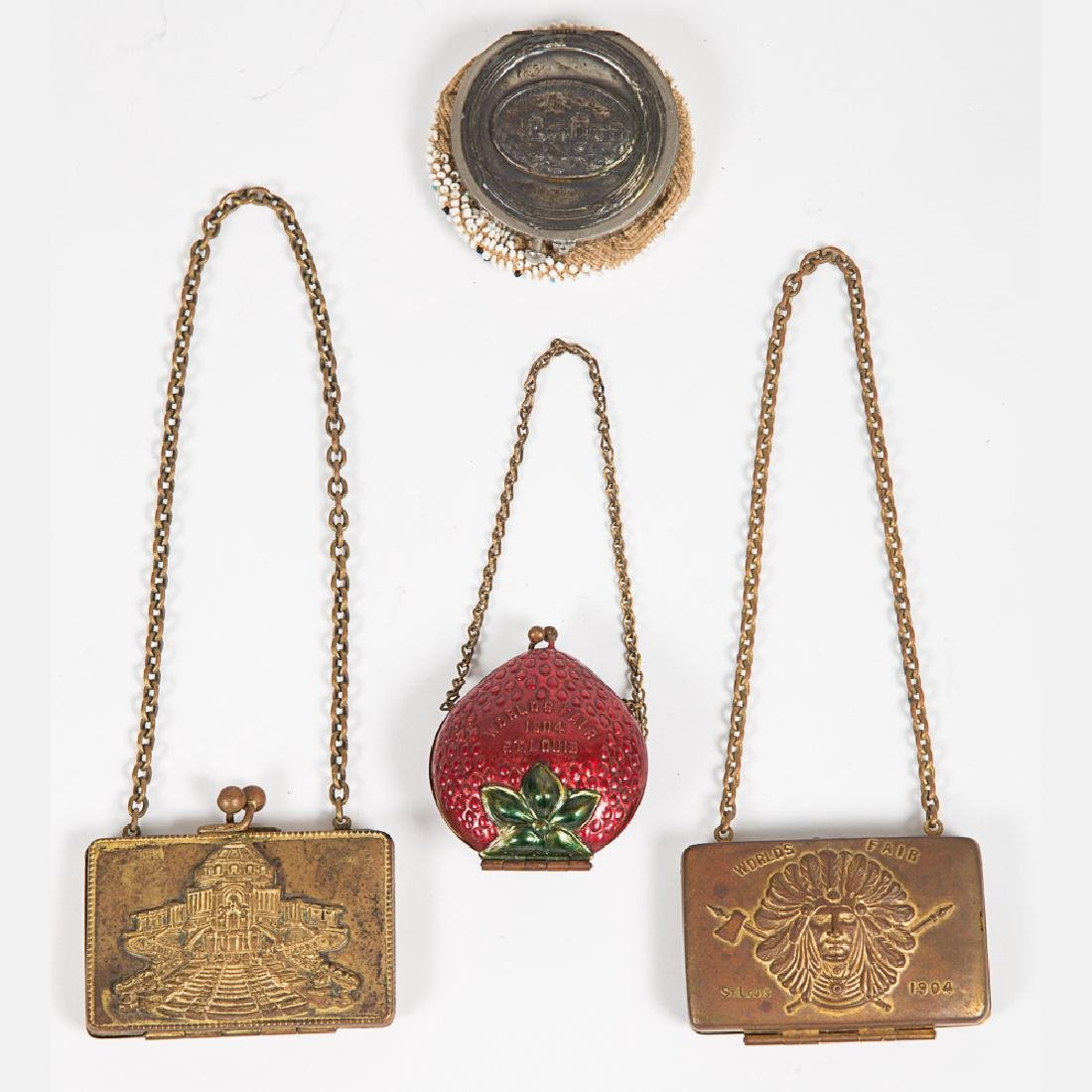 A Group of Five Metal, Beaded and Leather Coin Purses