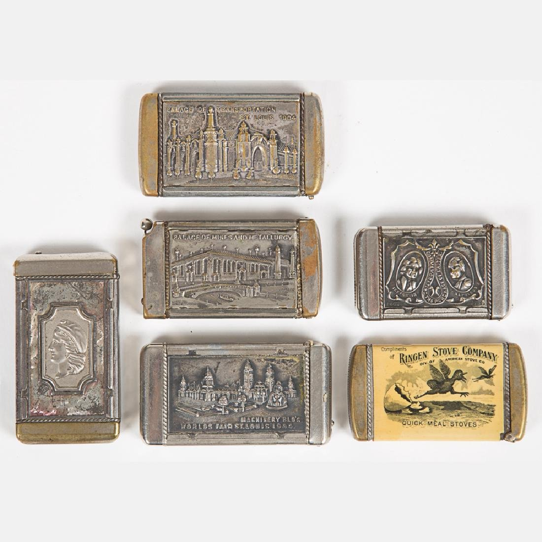 A Group of Six Nickel Plated Match Safe Souvenirs from