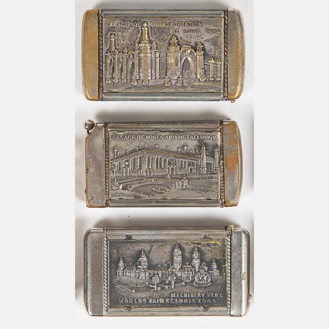 A Group of Six Nickel Plated Match Safe Souvenirs from - 2