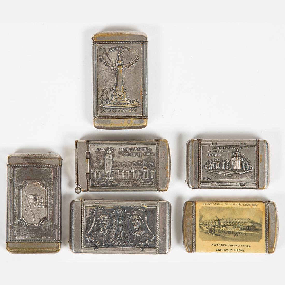 A Group of Six Nickel Plated Match Safe Souvenirs from - 5