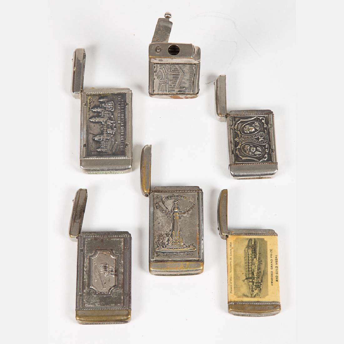 A Group of Six Nickel Plated Match Safe Souvenirs from - 6