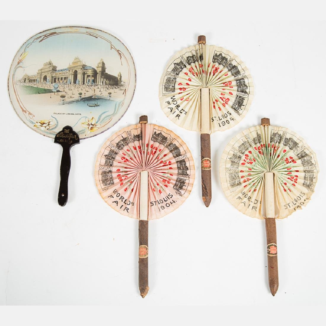 A Group of Three Fabric Fans from the Louisiana