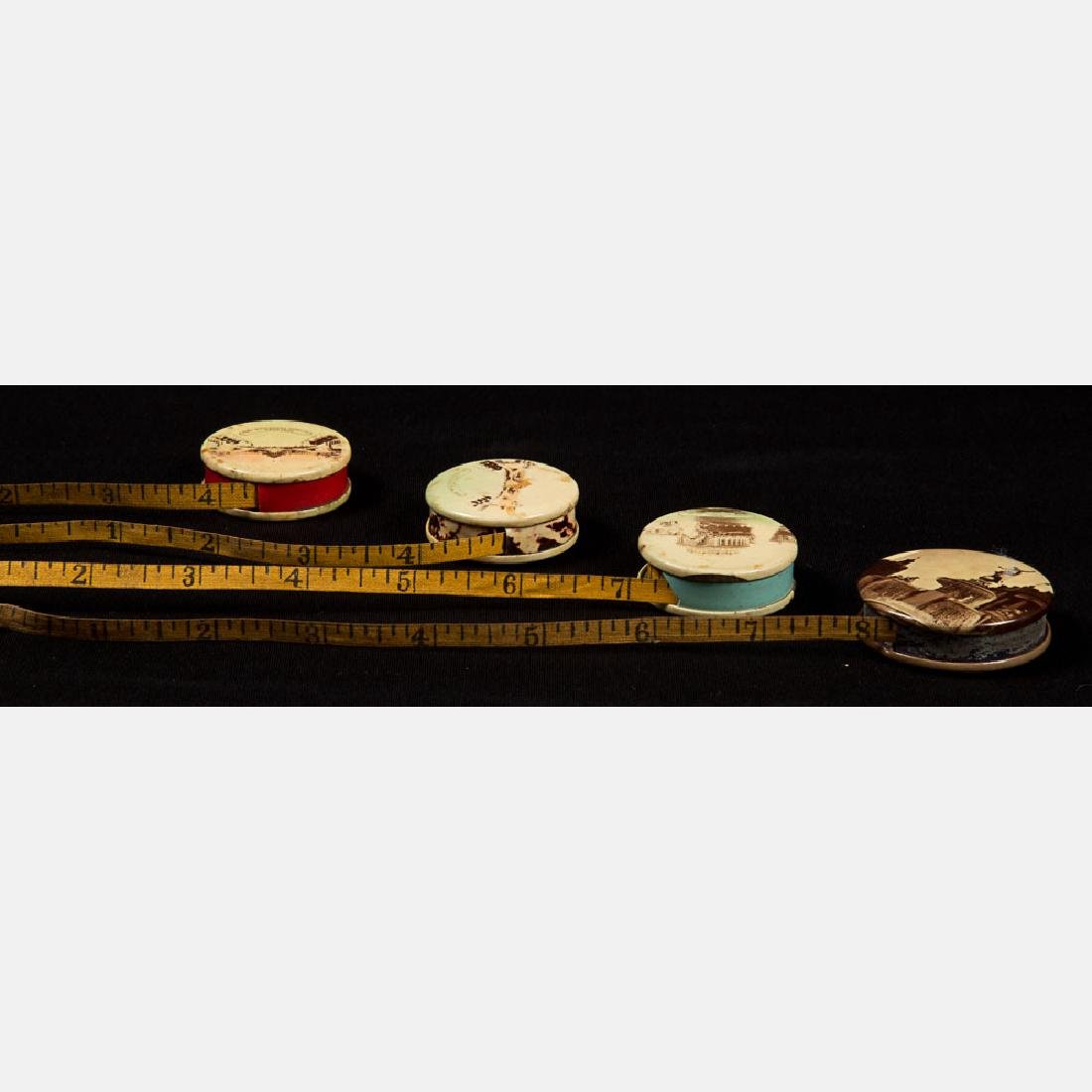 A Group of Four Multicolored Celluloid Measuring Tapes - 3