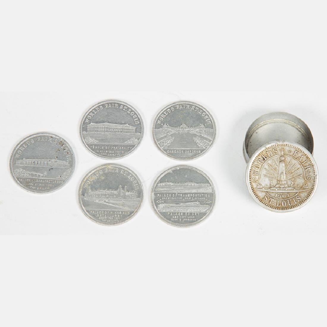 A Box Set of Five Aluminum Palace Dollars from the