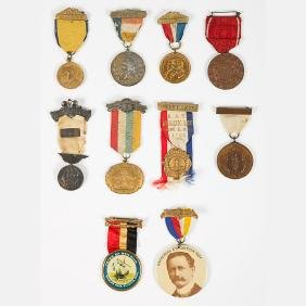 A Group of Ten Metal and Ribbon Badges from the