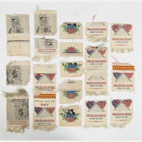A Group of Nineteen Partial Woven Silk Ribbons and