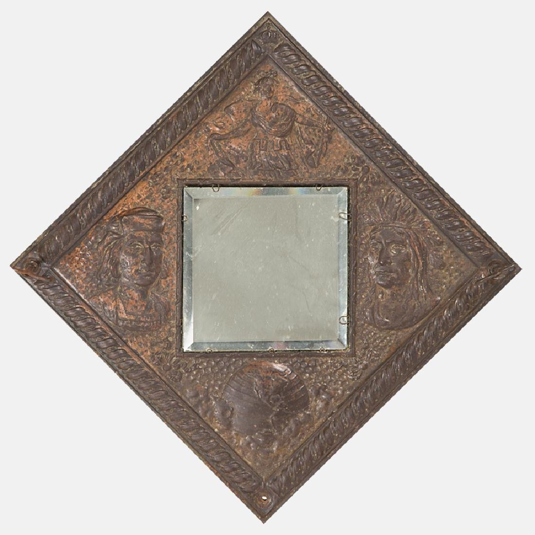 A Copper and Copper Plated Hanging Mirror from the