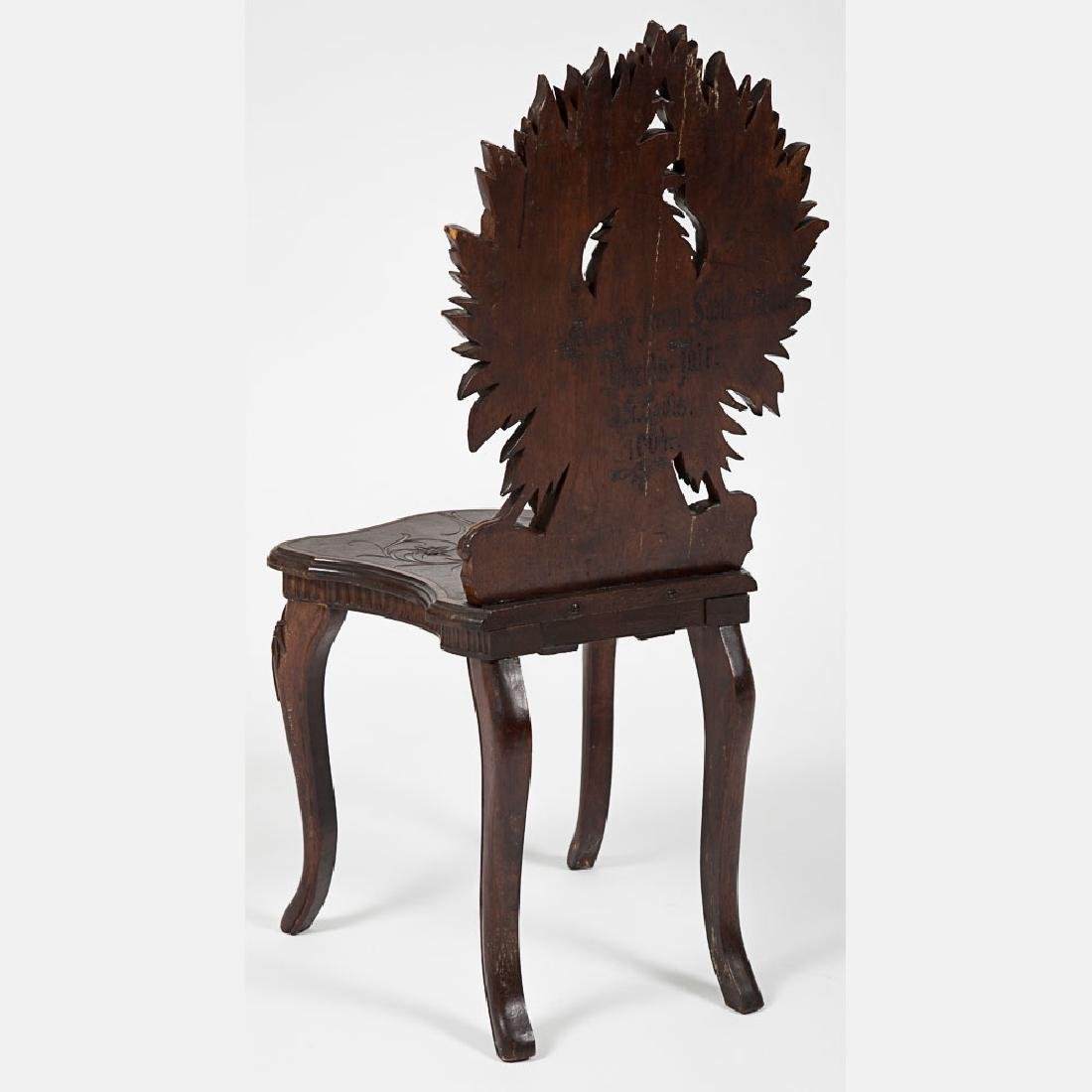A Black Forest Carved Walnut Side Chair from the - 3