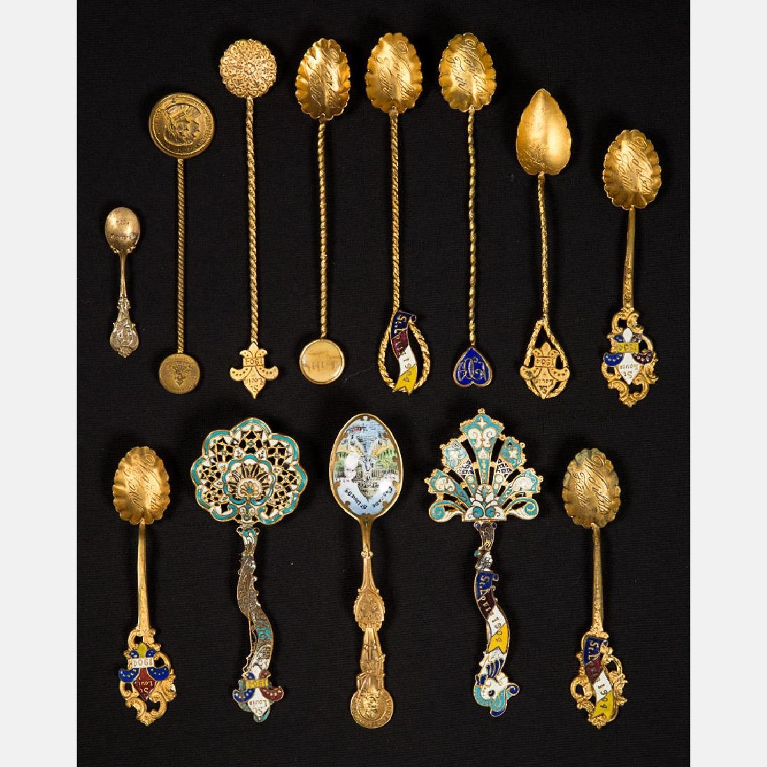 A Miscellaneous Collection of Thirteen Gold Plated