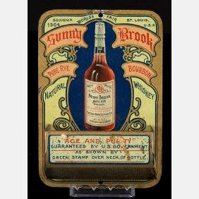 A Sunny Brook Pure Rye Whiskey Tin Match Holder from